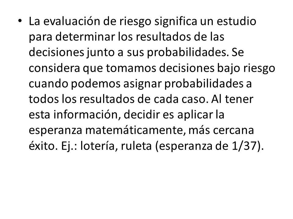 La evaluación de riesgo significa un estudio para determinar los resultados de las decisiones junto a sus probabilidades.