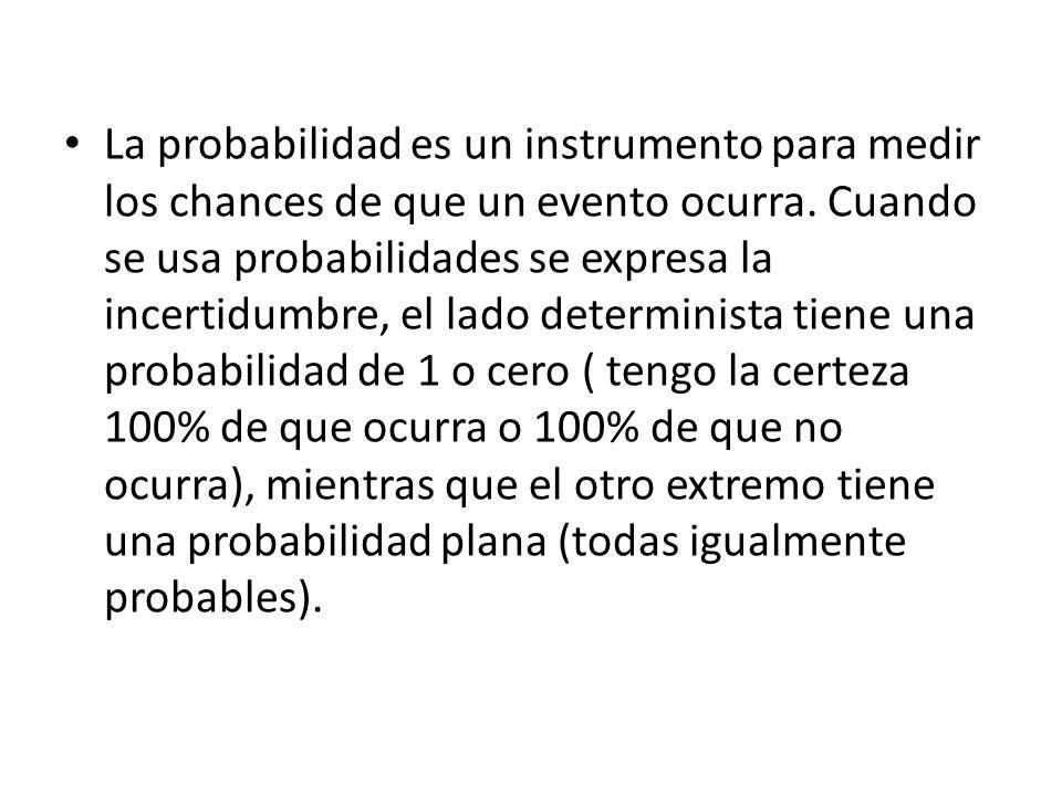 La probabilidad es un instrumento para medir los chances de que un evento ocurra.