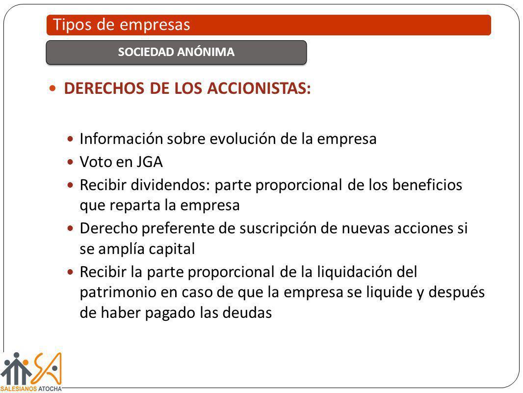 DERECHOS DE LOS ACCIONISTAS: