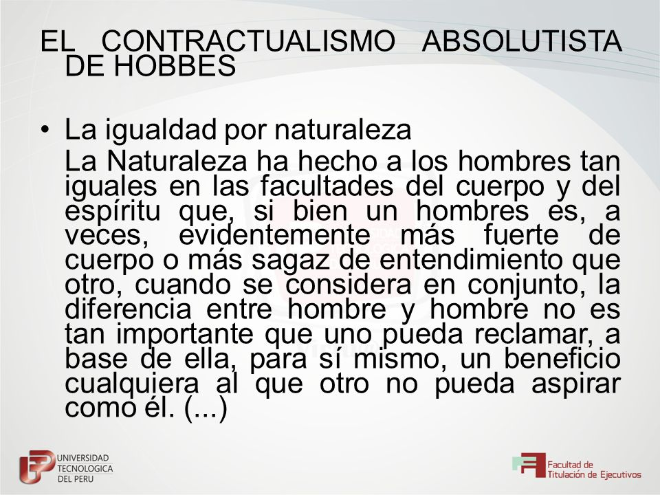 EL CONTRACTUALISMO ABSOLUTISTA DE HOBBES