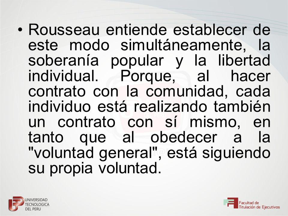 Rousseau entiende establecer de este modo simultáneamente, la soberanía popular y la libertad individual.