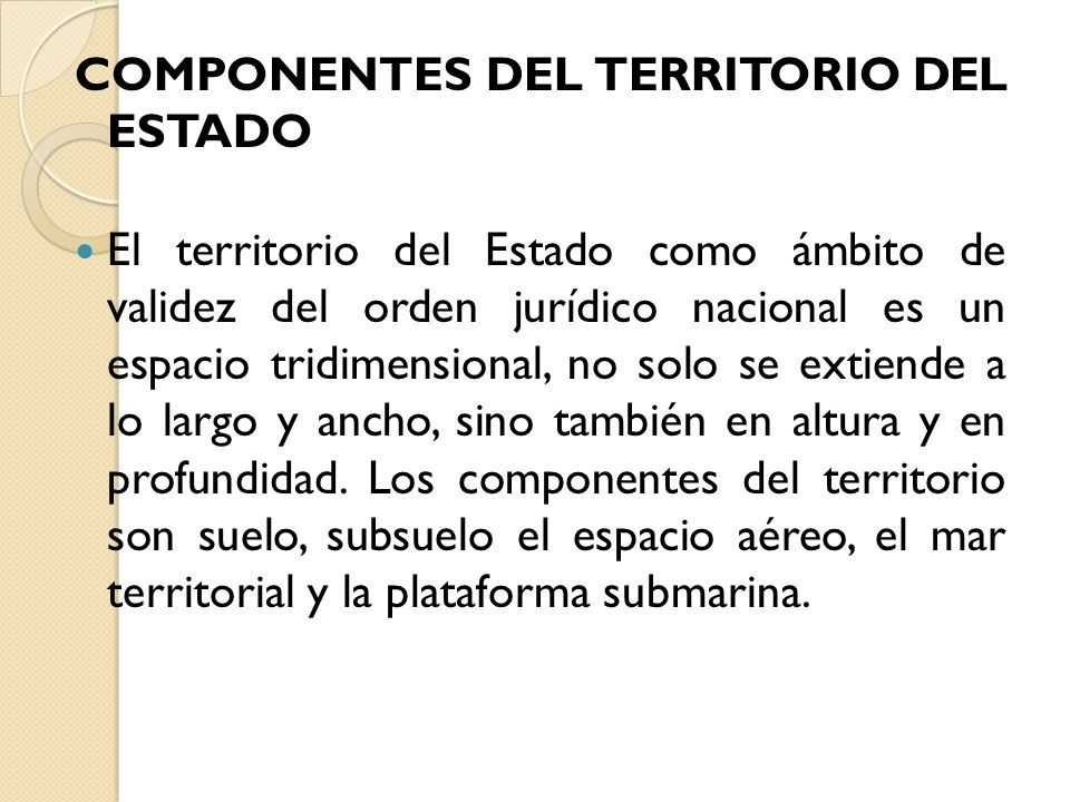 COMPONENTES DEL TERRITORIO DEL ESTADO