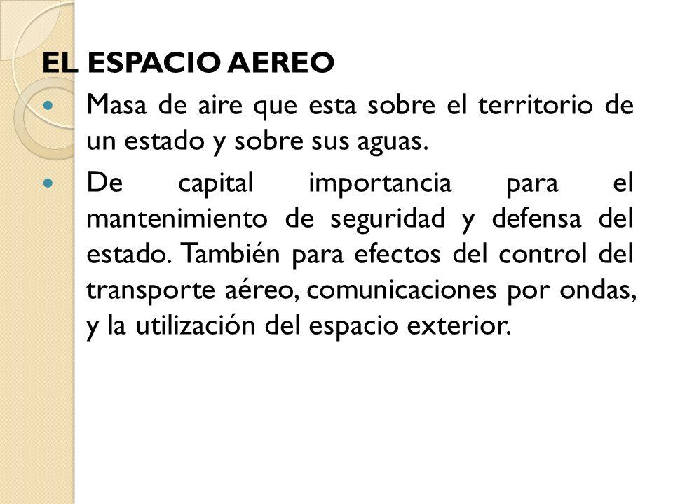 EL ESPACIO AEREO Masa de aire que esta sobre el territorio de un estado y sobre sus aguas.