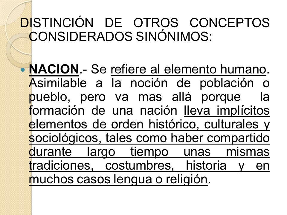 DISTINCIÓN DE OTROS CONCEPTOS CONSIDERADOS SINÓNIMOS:
