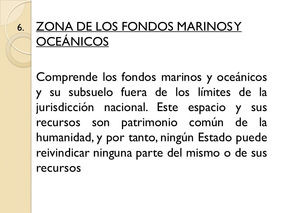 ZONA DE LOS FONDOS MARINOS Y OCEÁNICOS