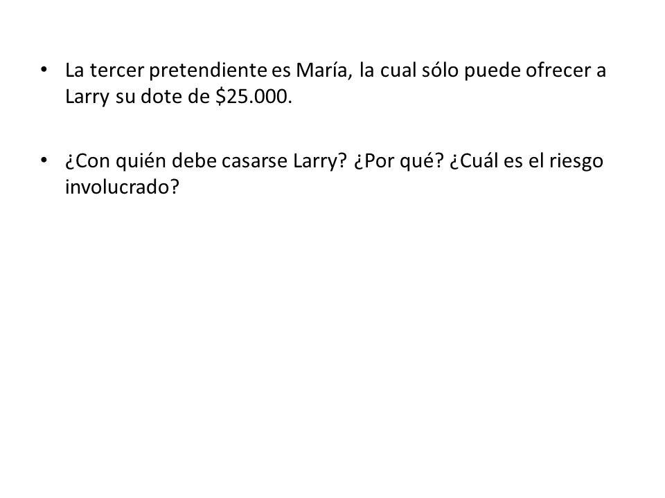 La tercer pretendiente es María, la cual sólo puede ofrecer a Larry su dote de $25.000.