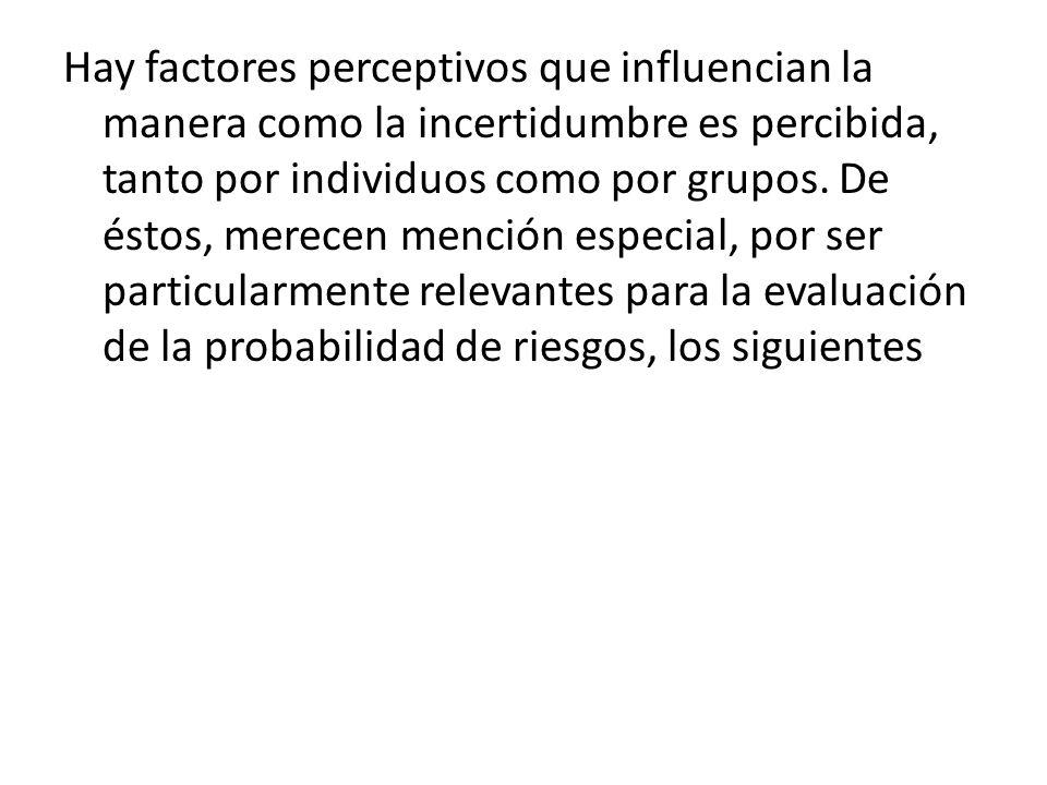 Hay factores perceptivos que influencian la manera como la incertidumbre es percibida, tanto por individuos como por grupos.