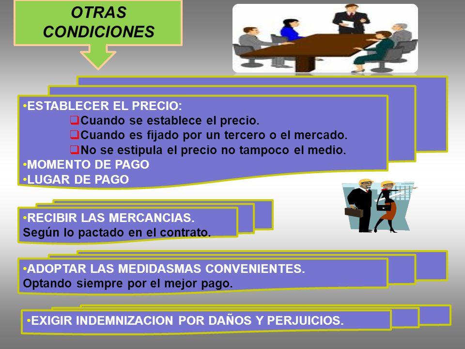 OTRAS CONDICIONES ESTABLECER EL PRECIO: Cuando se establece el precio.