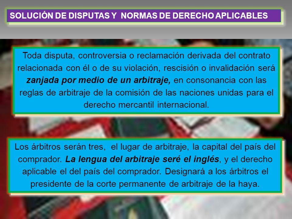 SOLUCIÓN DE DISPUTAS Y NORMAS DE DERECHO APLICABLES