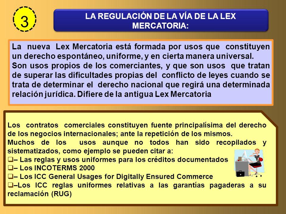 LA REGULACIÓN DE LA VÍA DE LA LEX MERCATORIA: