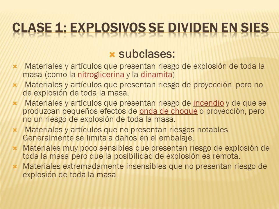 Clase 1: Explosivos SE DIVIDEN EN SIES
