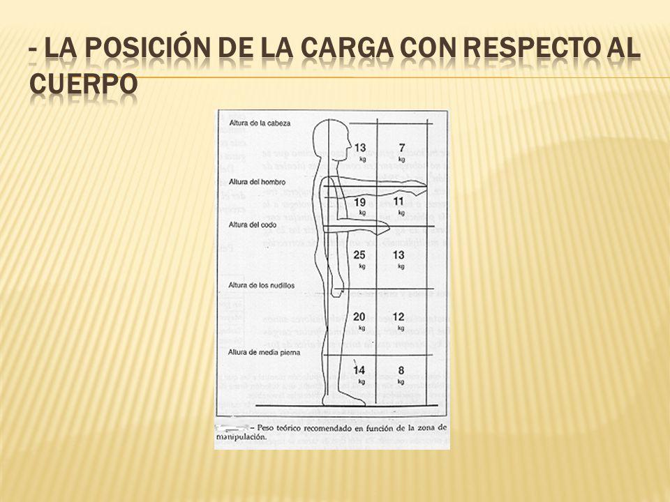 - La posición de la carga con respecto al cuerpo