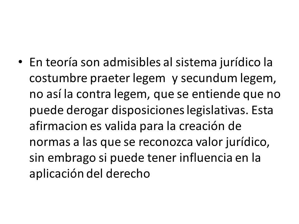 En teoría son admisibles al sistema jurídico la costumbre praeter legem y secundum legem, no así la contra legem, que se entiende que no puede derogar disposiciones legislativas.