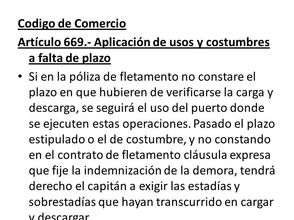 Codigo de Comercio Artículo 669.- Aplicación de usos y costumbres a falta de plazo.