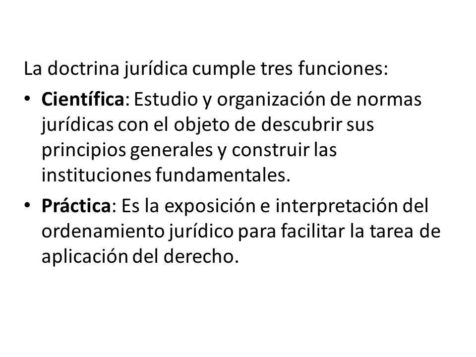 La doctrina jurídica cumple tres funciones: