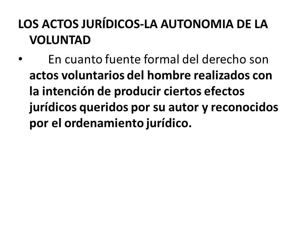 LOS ACTOS JURÍDICOS-LA AUTONOMIA DE LA VOLUNTAD