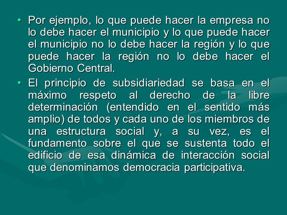 Por ejemplo, lo que puede hacer la empresa no lo debe hacer el municipio y lo que puede hacer el municipio no lo debe hacer la región y lo que puede hacer la región no lo debe hacer el Gobierno Central.