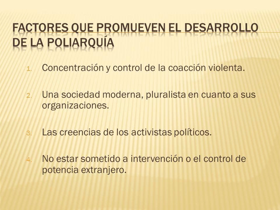 factores que promueven el desarrollo de la Poliarquía