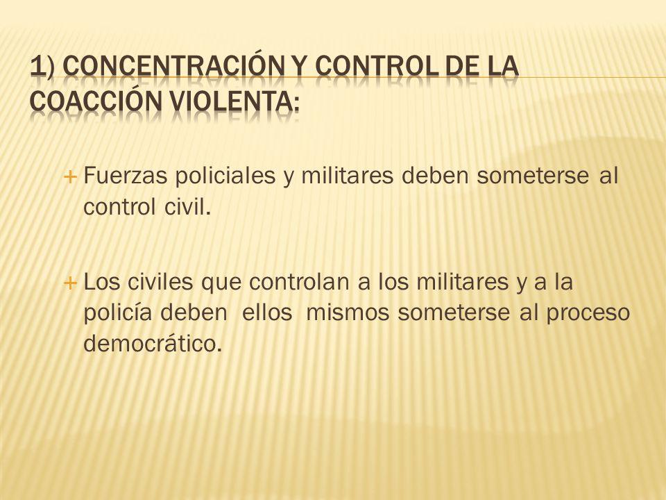 1) Concentración y control de la coacción violenta: