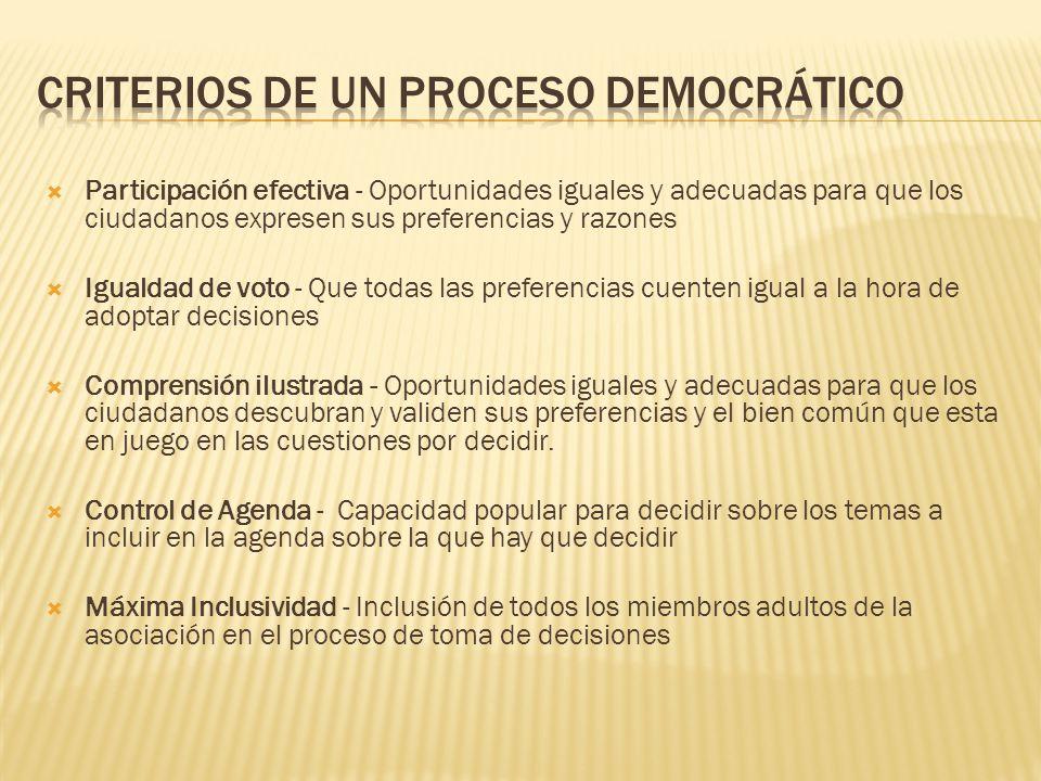 Criterios de un proceso democrático