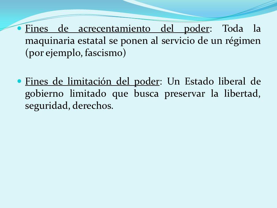 Fines de acrecentamiento del poder: Toda la maquinaria estatal se ponen al servicio de un régimen (por ejemplo, fascismo)