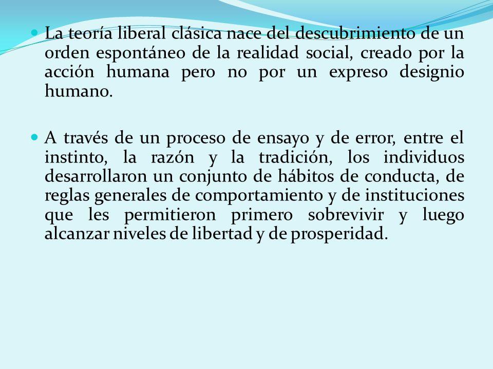 La teoría liberal clásica nace del descubrimiento de un orden espontáneo de la realidad social, creado por la acción humana pero no por un expreso designio humano.