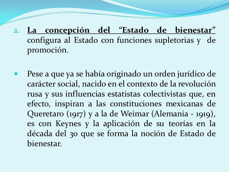 La concepción del Estado de bienestar configura al Estado con funciones supletorias y de promoción.