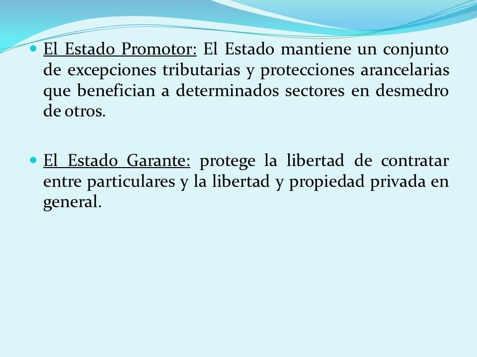 El Estado Promotor: El Estado mantiene un conjunto de excepciones tributarias y protecciones arancelarias que benefician a determinados sectores en desmedro de otros.