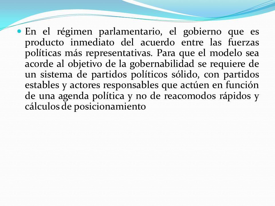 En el régimen parlamentario, el gobierno que es producto inmediato del acuerdo entre las fuerzas políticas más representativas.