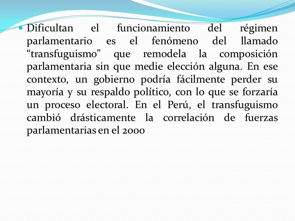 Dificultan el funcionamiento del régimen parlamentario es el fenómeno del llamado transfuguismo que remodela la composición parlamentaria sin que medie elección alguna.