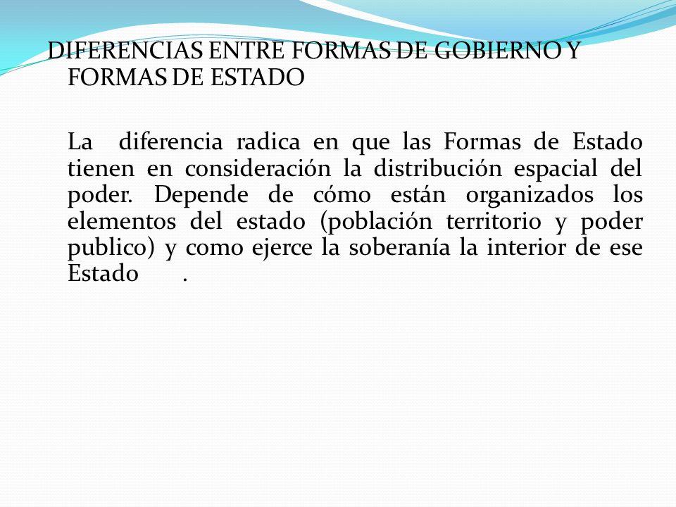 DIFERENCIAS ENTRE FORMAS DE GOBIERNO Y FORMAS DE ESTADO La diferencia radica en que las Formas de Estado tienen en consideración la distribución espacial del poder.