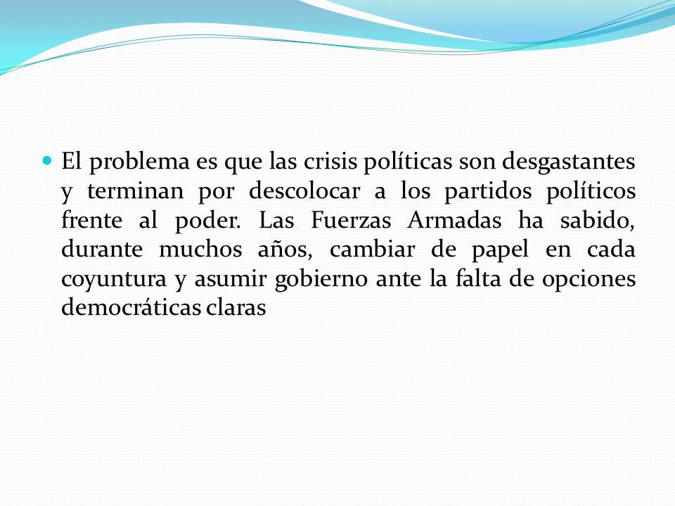 El problema es que las crisis políticas son desgastantes y terminan por descolocar a los partidos políticos frente al poder.