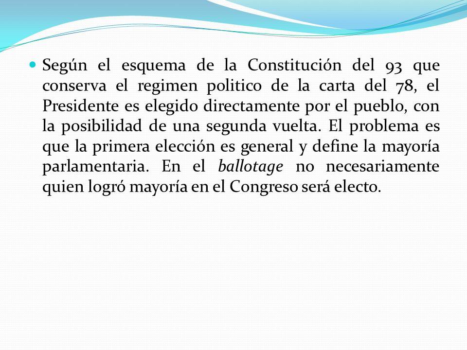 Según el esquema de la Constitución del 93 que conserva el regimen politico de la carta del 78, el Presidente es elegido directamente por el pueblo, con la posibilidad de una segunda vuelta.