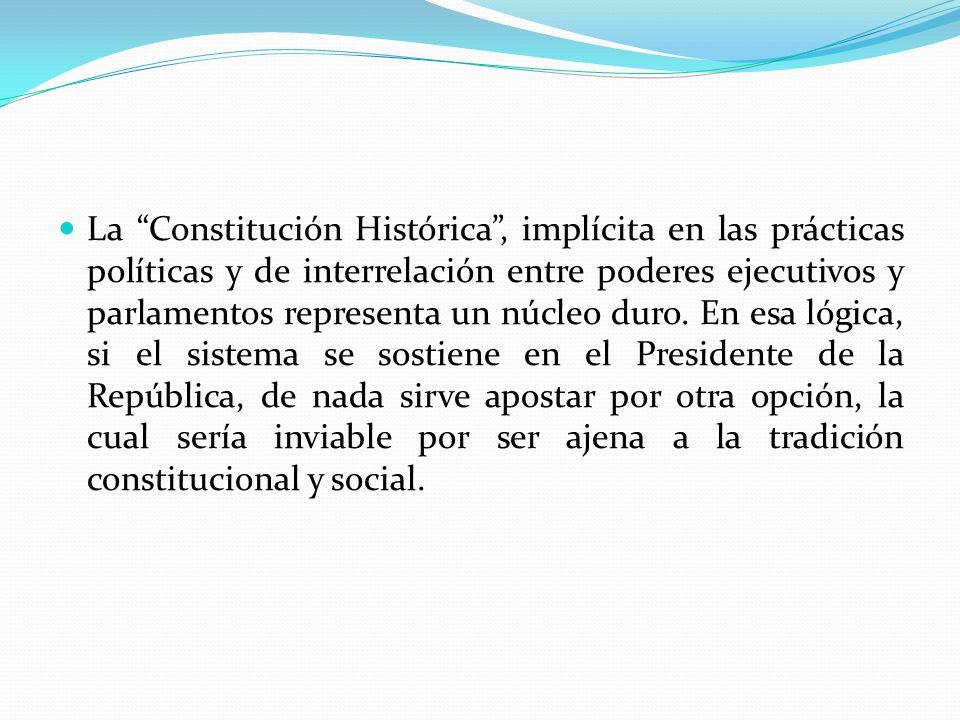 La Constitución Histórica , implícita en las prácticas políticas y de interrelación entre poderes ejecutivos y parlamentos representa un núcleo duro.