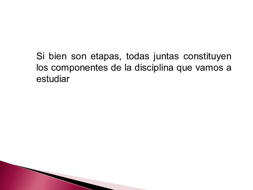 Si bien son etapas, todas juntas constituyen los componentes de la disciplina que vamos a estudiar