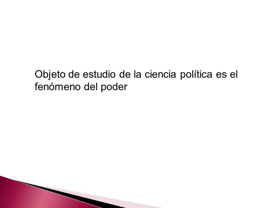 Objeto de estudio de la ciencia política es el fenómeno del poder