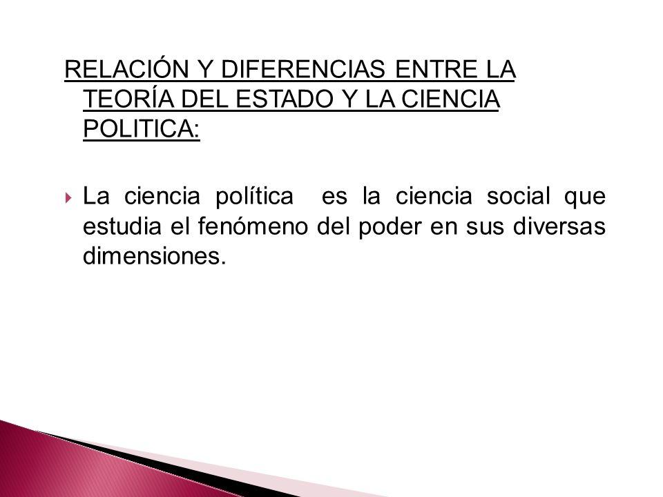 RELACIÓN Y DIFERENCIAS ENTRE LA TEORÍA DEL ESTADO Y LA CIENCIA POLITICA: