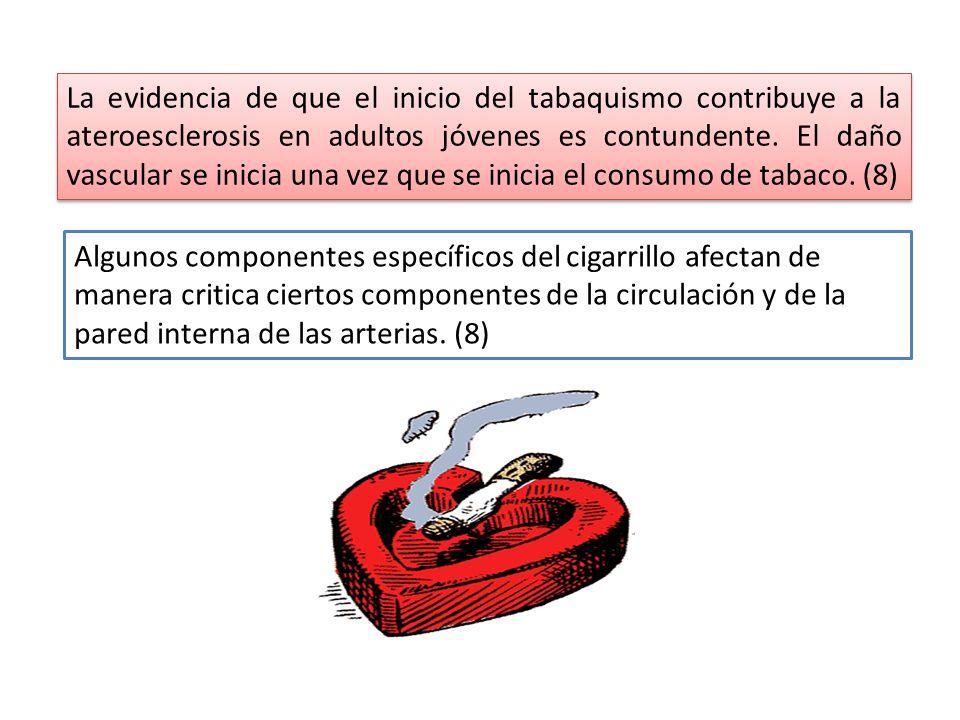 La evidencia de que el inicio del tabaquismo contribuye a la ateroesclerosis en adultos jóvenes es contundente. El daño vascular se inicia una vez que se inicia el consumo de tabaco. (8)