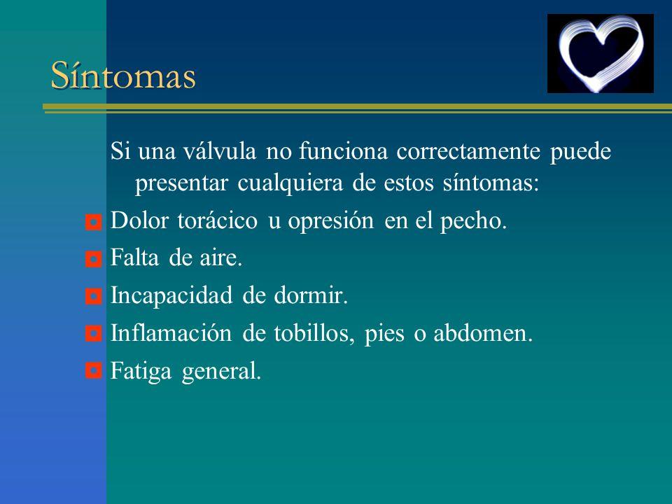 Síntomas Si una válvula no funciona correctamente puede presentar cualquiera de estos síntomas: Dolor torácico u opresión en el pecho.