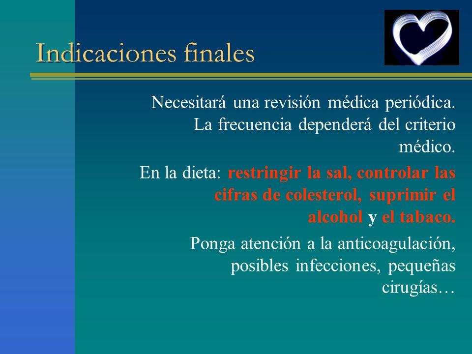 Indicaciones finales Necesitará una revisión médica periódica. La frecuencia dependerá del criterio médico.