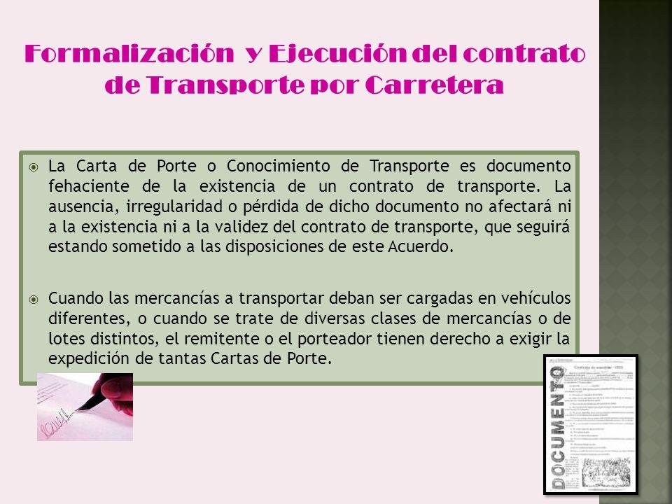 Formalización y Ejecución del contrato de Transporte por Carretera