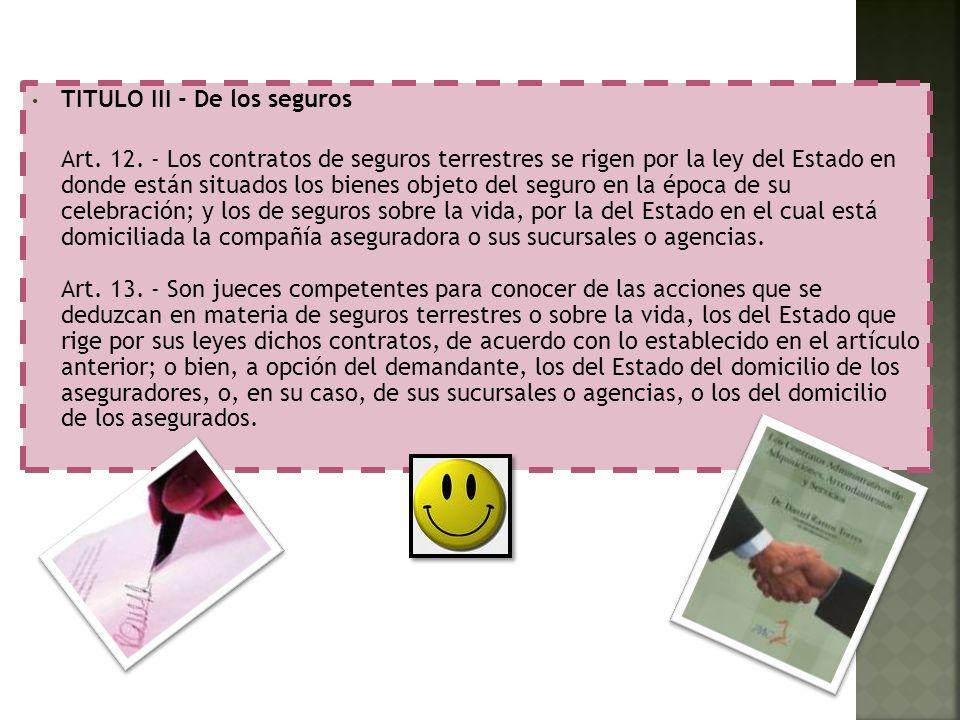 TITULO III - De los seguros
