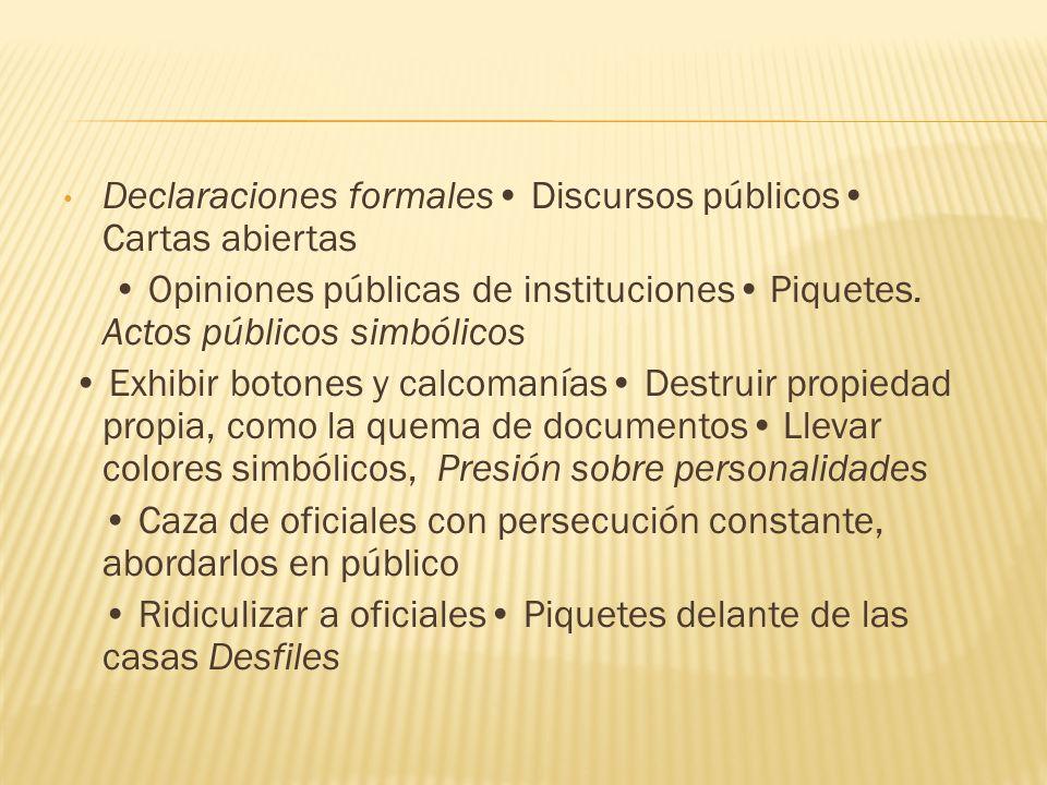 Declaraciones formales• Discursos públicos• Cartas abiertas