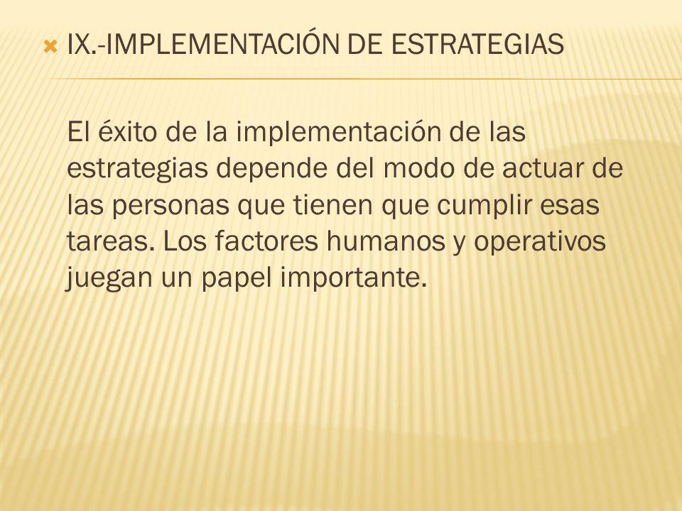 IX.-IMPLEMENTACIÓN DE ESTRATEGIAS