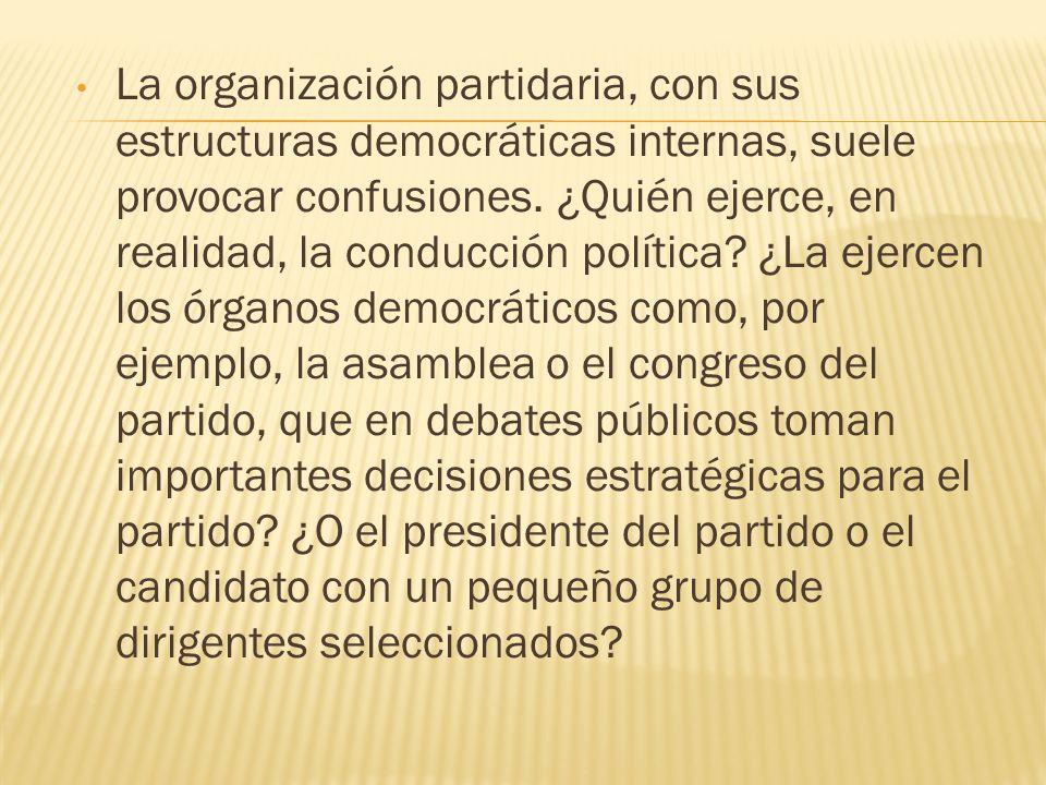 La organización partidaria, con sus estructuras democráticas internas, suele provocar confusiones.