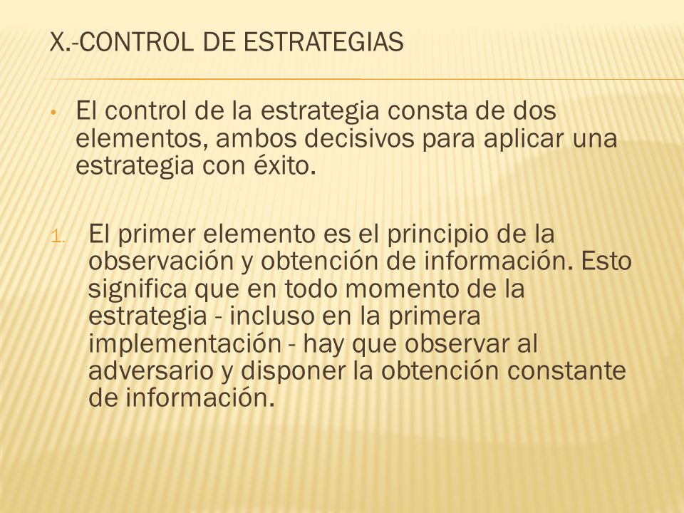 X.-CONTROL DE ESTRATEGIAS