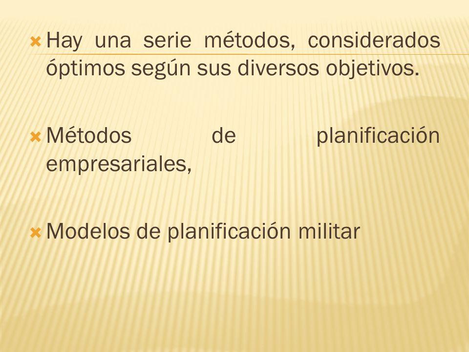 Hay una serie métodos, considerados óptimos según sus diversos objetivos.