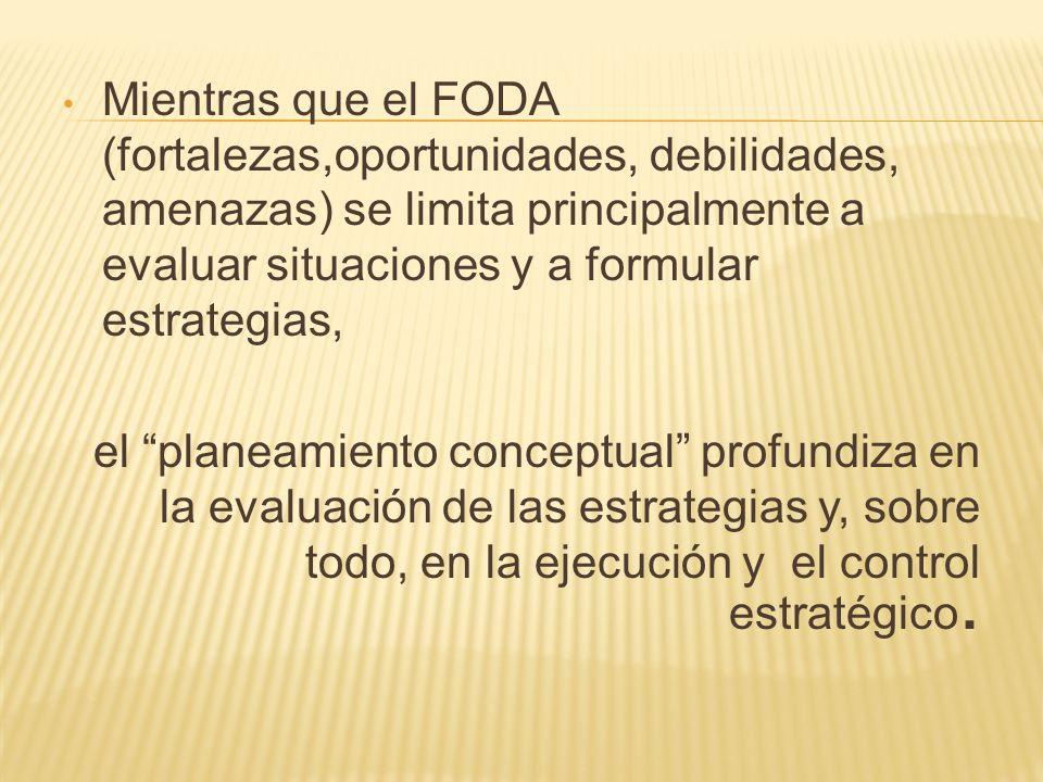 Mientras que el FODA (fortalezas,oportunidades, debilidades, amenazas) se limita principalmente a evaluar situaciones y a formular estrategias,