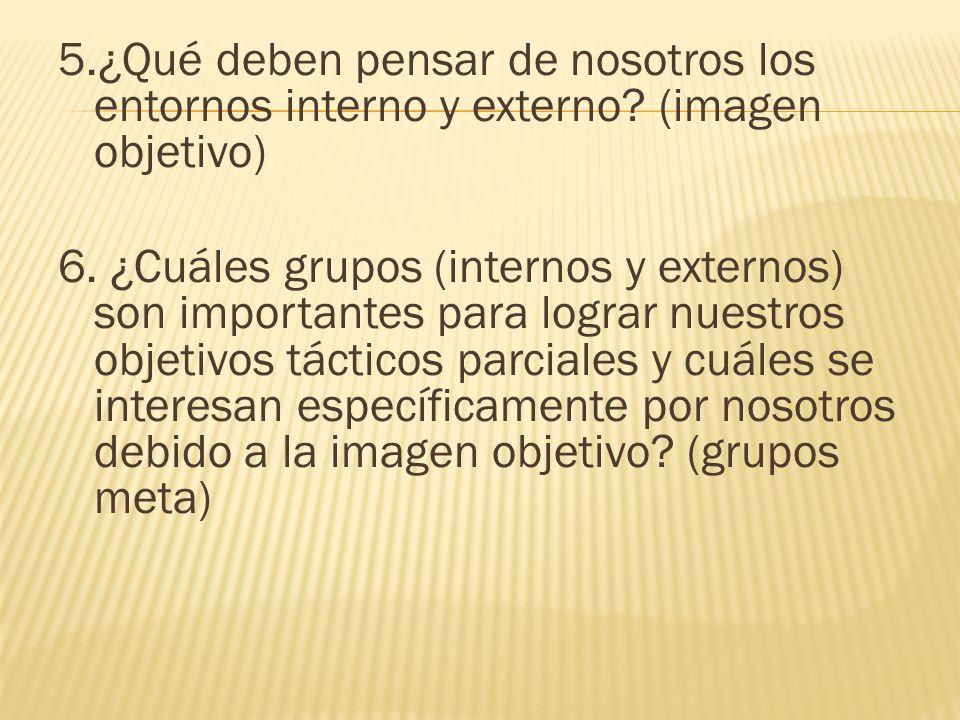 5. ¿Qué deben pensar de nosotros los entornos interno y externo