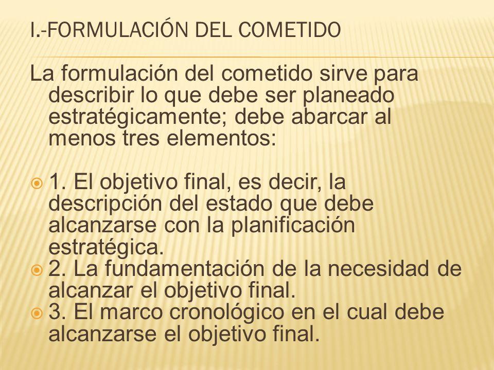 I.-FORMULACIÓN DEL COMETIDO